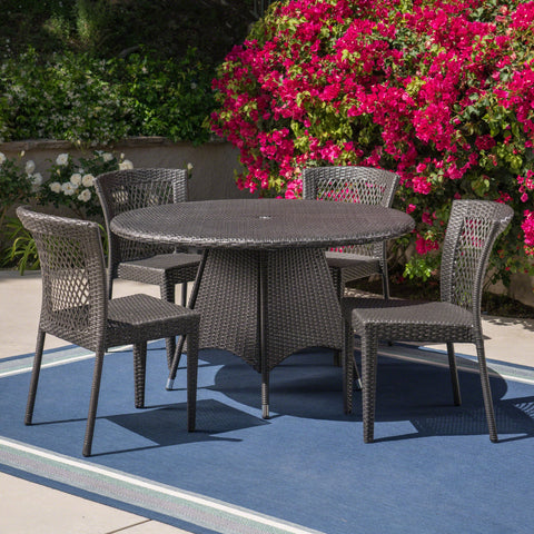 Outdoor 5 Piece Grey Wicker Dining Set - NH805403