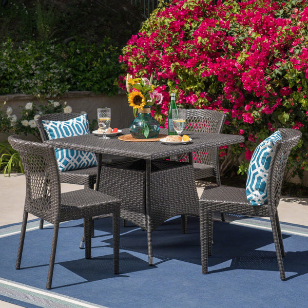 Outdoor 5 Piece Wicker Dining Set, Grey - NH705403