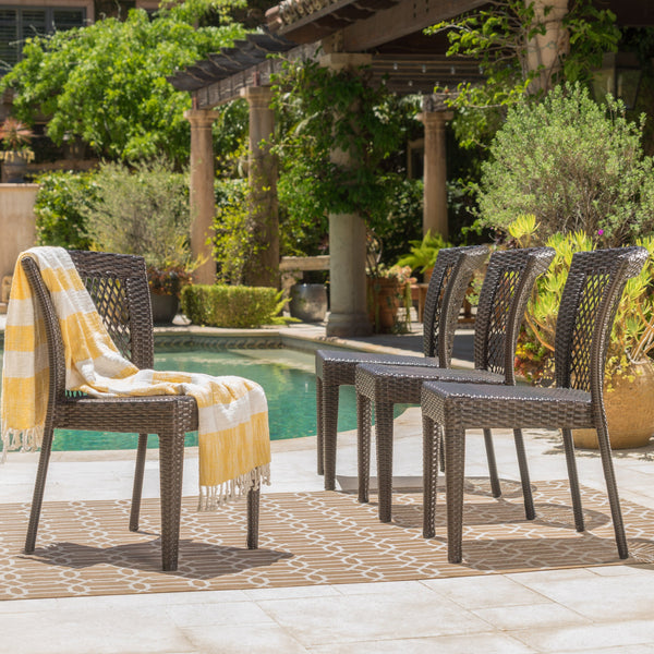 Outdoor Multi-brown Wicker Stacking Dining Chairs (Set of 4) - NH345003