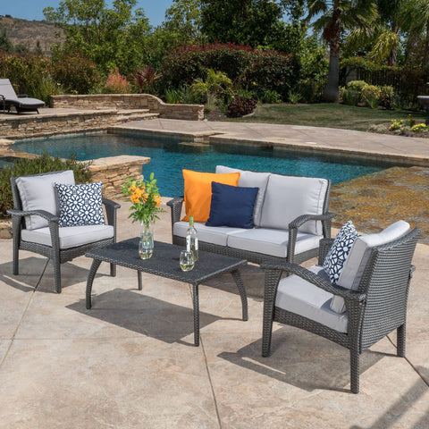Outdoor 4 Piece Gray Wicker Chat Set with Cushions - NH687532