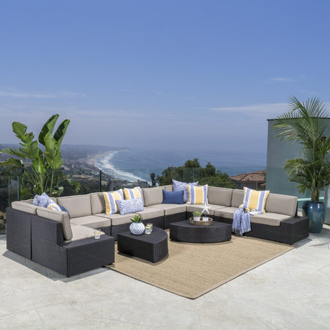 12pc Outdoor Wicker Sectional Sofa Set w/ Cushions - NH170692