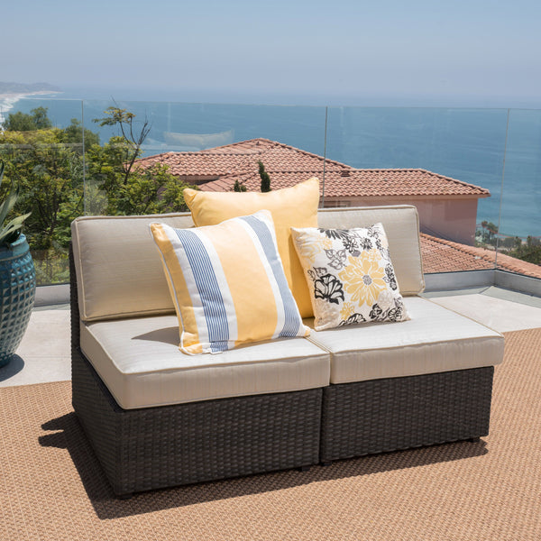 Outdoor Wicker Sectional Sofa Seat w/ Cushions (set of 2) - NH340103