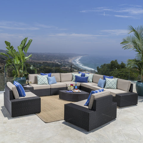 Outdoor Wicker Sectional Set w/ Cushions - NH205003