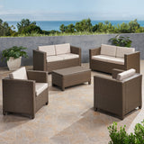 6-Seater Outdoor Brown PE Wicker Sofa Set with Coffee Table - NH809903