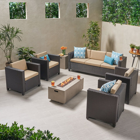 7-Seater Outdoor Fire Pit Sofa Set - NH329903
