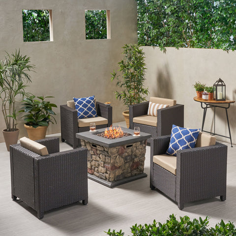4-Seater Outdoor Fire Pit Chat Set - NH529903