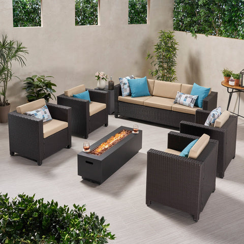 7-Seater Outdoor Fire Pit Sofa Set - NH129903