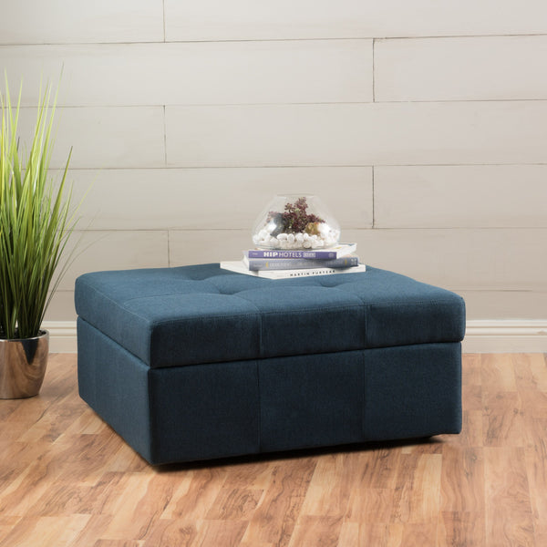 Square Tufted Fabric Storage Ottoman Coffee Table With Casters - NH496003