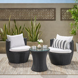 3pc Outdoor Black Wicker Chat Set - NH127632
