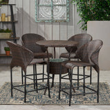 Outdoor 5-Piece Multi-Brown Wicker Bistro Bar Set with Ice Bucket - NH780832