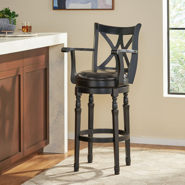 Farmhouse Black Bonded Leather Swivel Barstool with Arms - NH778592