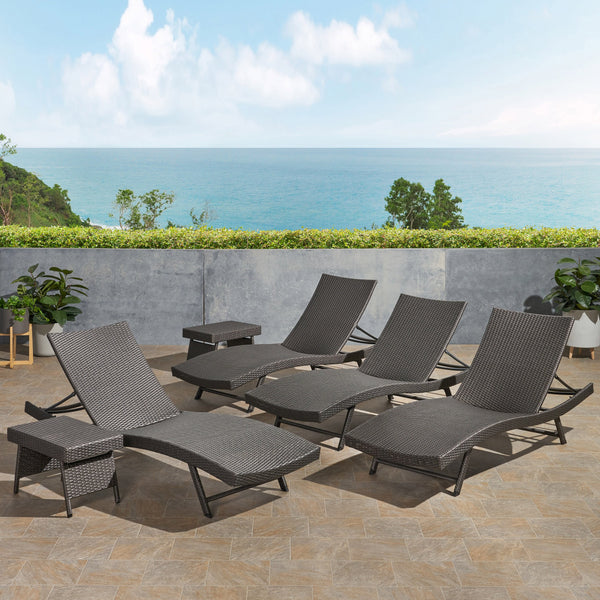 Outdoor 6 Piece Wicker Chaise Lounge Set - NH806403