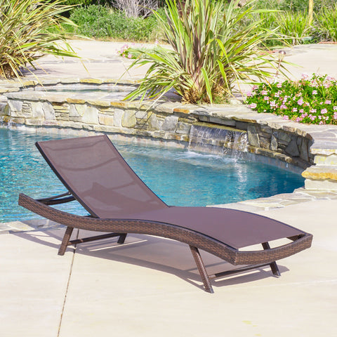 Outdoor Brown Mesh Chaise Lounge Chair - NH255592