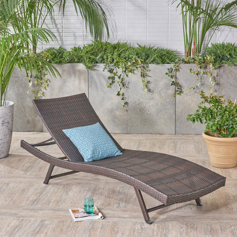 Outdoor Brown Wicker Adjustable Chaise Lounge Chair - NH925592