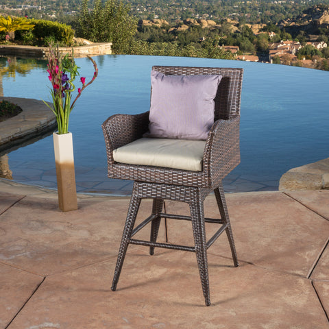 Modern Outdoor Multi-Brown Wicker Swivel Barstool with Tapered Legs - NH083832