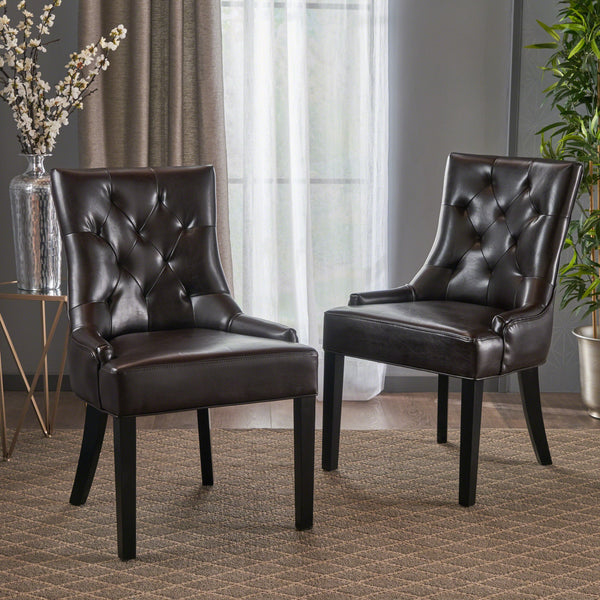 Tufted Leather Dining Chairs (Set of 2) - NH954832