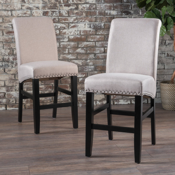 Wheat Fabric Counter Stools (Set of 2) - NH378003