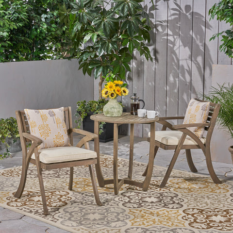 Outdoor 2-Seater Acacia Wood Bistro Set - NH767503