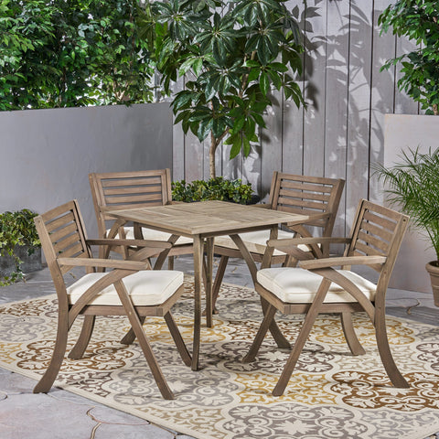 Outdoor 4-Seater Acacia Wood Dining Set with Square Table - NH867503