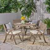 Outdoor 5 Piece Acacia Wood Dining Set with Round Table - NH967503