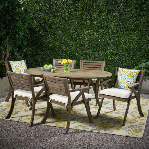 Outdoor 6 Seater Acacia Wood Oval Dining Set with Cushions - NH559903