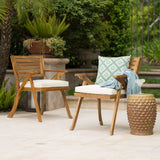 Outdoor Teak Finish Acacia Wood Arm Chair (Set of 2) - NH154992