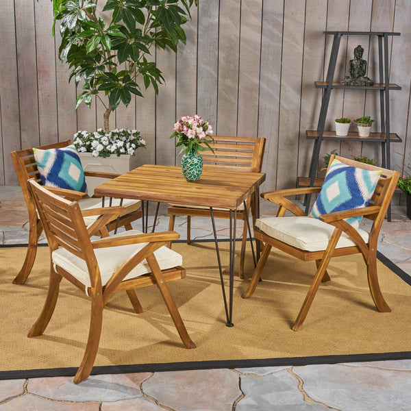 Outdoor Farmhouse Hairpin Legs Dining Set - NH464503