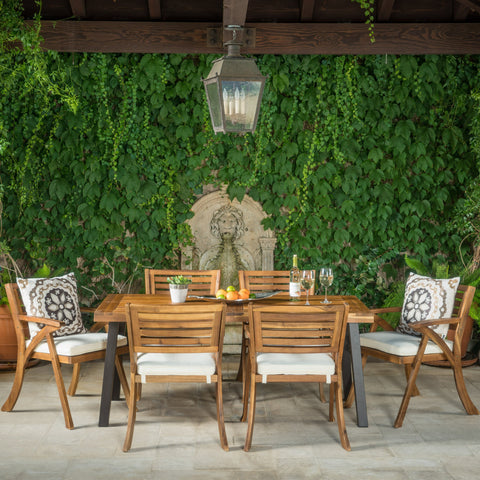 7 Piece Teak Finish Acacia Wood Patio Dining Set - NH891892