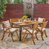 Outdoor 6-Seater Rectangular Acacia Wood and Iron Dining Set, Teak with Black and Cream - NH303603