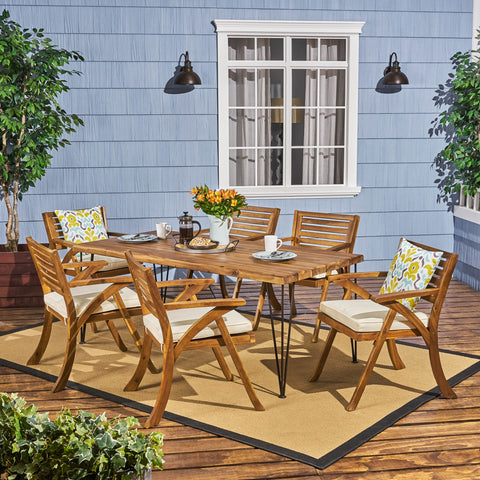 Farmhouse Outdoor Patio Hairpin Legs Dining Set - NH045703