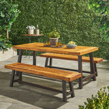 Outdoor Modern Industrial 3 Piece Acacia Wood Picnic Dining Set with Benches, Sandblasted Teak - NH304892