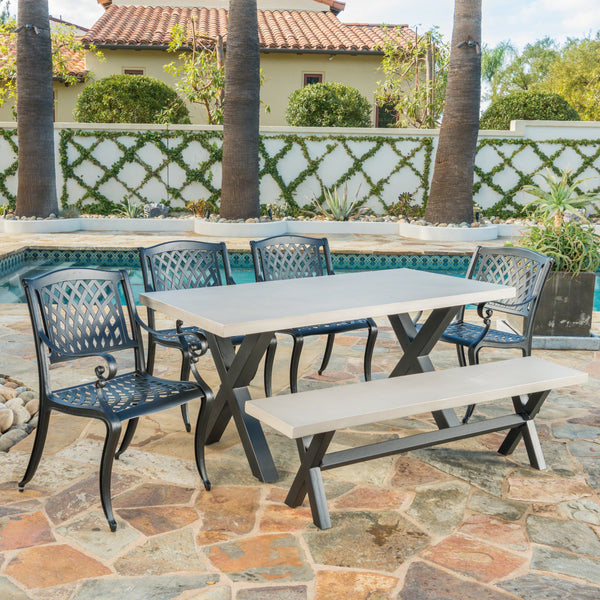 Outdoor 6 Seater Dining Set With Bench - NH783303