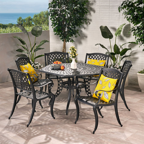7 Piece Bronze Cast Aluminum Outdoor Dining Set - NH770932