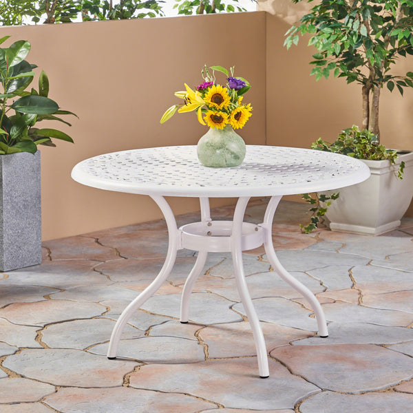 Outdoor Aluminum Round Dining Table, White - NH431503