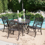 Outdoor 5 Piece Hammered Bronze Finished Aluminum Dining Set with Expandable Table - NH672103