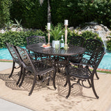 Outdoor 7 Piece Dining Set with Expandable Aluminum Table - NH572103