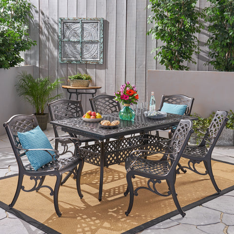 "Outdoor 64"" - 81"" 6-Seater Dining Set with Expandable Table - NH645703"