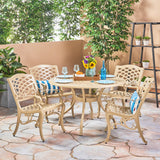 Outdoor 5 Piece Cast Aluminum Round Dining Set - NH596503
