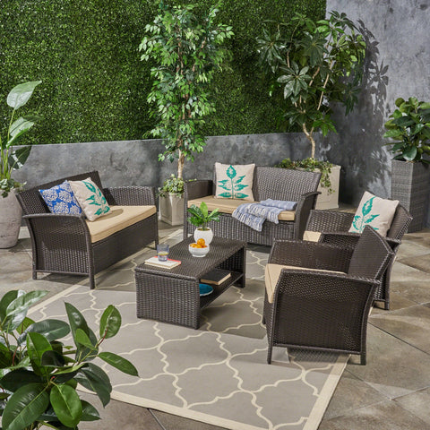 Outdoor 6-Seater Wicker Conversation Set with Coffee Table - NH934503