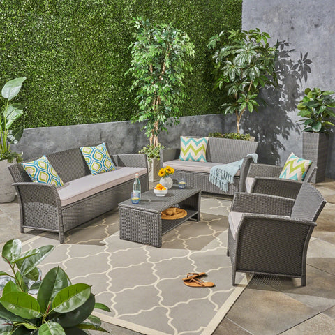 Outdoor 7 Seater Wicker Chat Set - NH244503