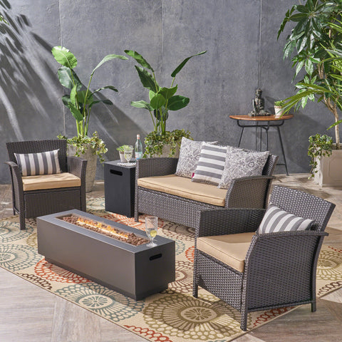 Outdoor 4 Seater Wicker Chat Set with Fire Pit - NH524503