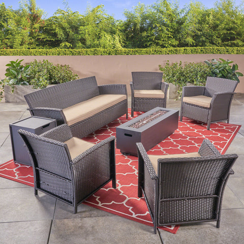 Outdoor 4-Seater Wicker Chat Set with Fire Pit - NH034503