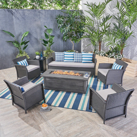 Outdoor 7 Seater Wicker Chat Set with Fire Pit - NH724503