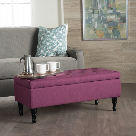 Button Tufted Fabric Rectangle Storage Ottoman Bench w/ Turned Legs - NH596003