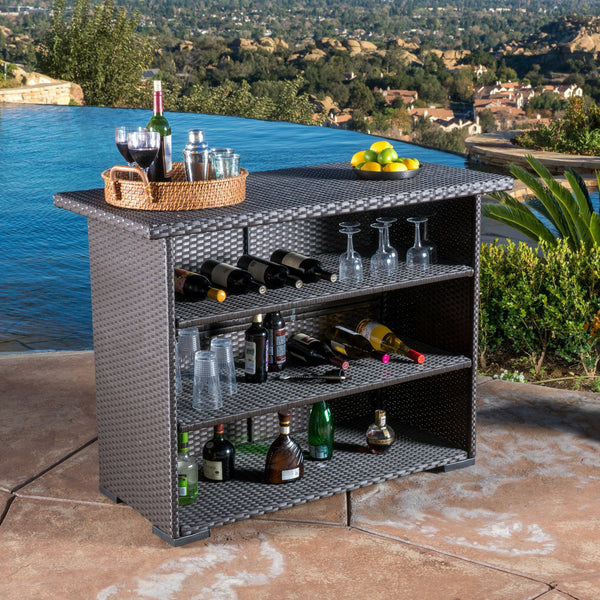 Contemporary Outdoor Dark Brown Polyethylene Bar - NH135692