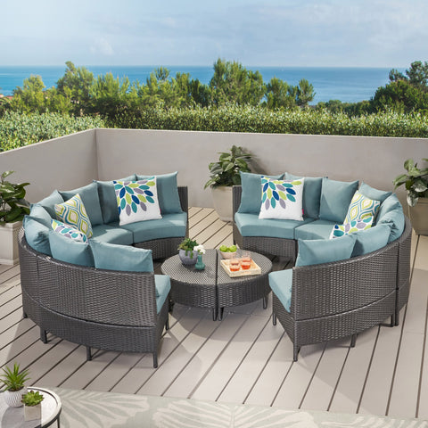 Outdoor 10 Piece Gray Wicker Sectional Sofa Set with Teal Cushions - NH406203