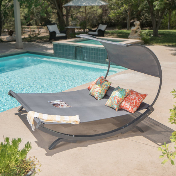 Gray Wood Sunbed with Gray Outdoor Mesh Canopy - NH120103
