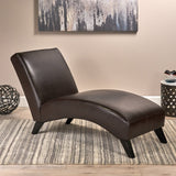 Brown Leather Chaise Lounge Chair - NH932592