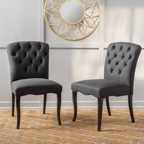 Black Scroll Fabric Dining Chairs (Set of 2) - NH635592