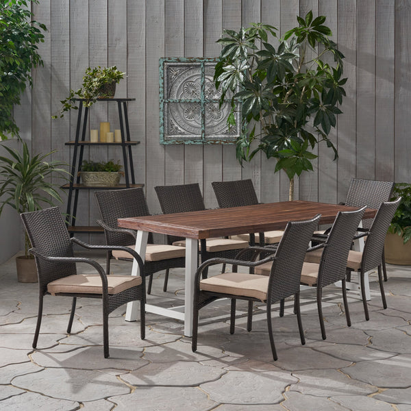 Outdoor Wood and Wicker 8 Seater Dining Set - NH746903